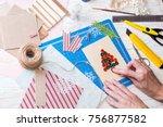scrapbook background. girl make ...   Shutterstock . vector #756877582