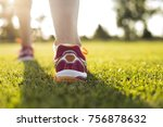runner training woman and... | Shutterstock . vector #756878632