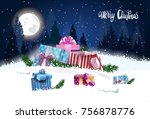 gift boxes in winter forest... | Shutterstock .eps vector #756878776
