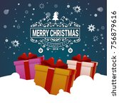 christmas poster colorful gift... | Shutterstock .eps vector #756879616
