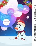 cute snowman greeting with... | Shutterstock .eps vector #756881746