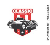 classic car illustration ... | Shutterstock .eps vector #756885385