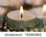 christmas candles with golden... | Shutterstock . vector #756885886