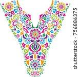 embroidery neckline necklace... | Shutterstock .eps vector #756886375