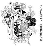 Hand Drawn Geisha Women Hold...