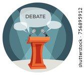 debate poster with microphones... | Shutterstock .eps vector #756895912