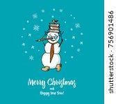 set of winter holidays snowman... | Shutterstock .eps vector #756901486