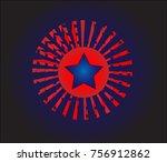 blue star on geometric... | Shutterstock .eps vector #756912862