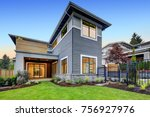grey blue craftsman style home... | Shutterstock . vector #756927976