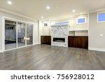 spacious empty living room... | Shutterstock . vector #756928012