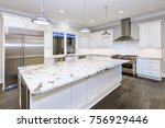 large  spacious kitchen design... | Shutterstock . vector #756929446