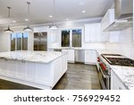 large  spacious kitchen design... | Shutterstock . vector #756929452