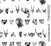 seamless pattern of hand drawn... | Shutterstock .eps vector #756930202