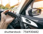 car dashboard with steering... | Shutterstock . vector #756930682