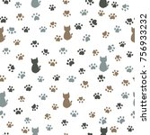 cats and paw print seamless... | Shutterstock .eps vector #756933232