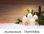 white burning candle for the... | Shutterstock . vector #756935806