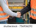 successful handshake deal on... | Shutterstock . vector #756936292