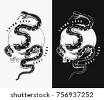 vector skull and snake... | Shutterstock .eps vector #756937252