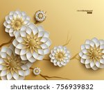 3D branches of golden arabesque style blossoms on golden background | Shutterstock vector #756939832