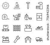 thin line icon set   gear ... | Shutterstock .eps vector #756942346