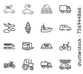 thin line icon set   eco car ... | Shutterstock .eps vector #756944866