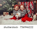 merry christmas and happy... | Shutterstock . vector #756946222