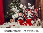 merry christmas and happy... | Shutterstock . vector #756946246