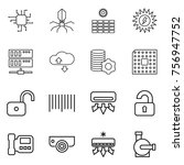 thin line icon set   chip ... | Shutterstock .eps vector #756947752