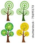 set of abstract cartoon tree... | Shutterstock .eps vector #75695173