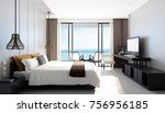 Stock photo modern sea view bedroom d rendering 756956185