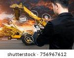 business man use smart phone... | Shutterstock . vector #756967612