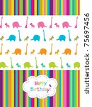 cute birthday's card with... | Shutterstock .eps vector #75697456