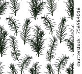 seamless pattern with fir tree... | Shutterstock .eps vector #756984016