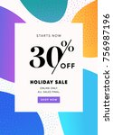 holiday sale banner  30  off... | Shutterstock .eps vector #756987196