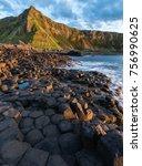 giant causeway in northern...   Shutterstock . vector #756990625