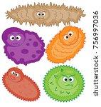 cartoon virus character vector...   Shutterstock .eps vector #756997036