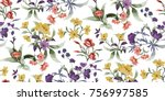 seamless floral pattern in... | Shutterstock .eps vector #756997585