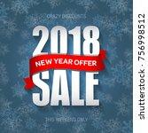 new year 2018 sale badge  label ... | Shutterstock .eps vector #756998512