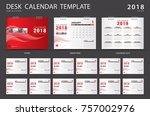 desk calendar 2018 template.... | Shutterstock .eps vector #757002976