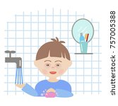 boy with down syndrome in the... | Shutterstock .eps vector #757005388