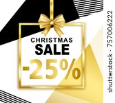 christmas sale  25  banner with ... | Shutterstock .eps vector #757006222
