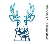 cute reindeer with scarf cartoon | Shutterstock .eps vector #757009432