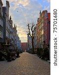 Mariacka Street at dawn in Gdansk, Poland. - stock photo