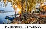 cobblestone embankment of the...   Shutterstock . vector #757020202