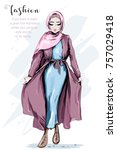 beautiful muslim woman wearing... | Shutterstock .eps vector #757029418