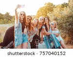 six beautiful girls make selfie ... | Shutterstock . vector #757040152
