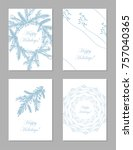 set of abstract hand drawn... | Shutterstock .eps vector #757040365