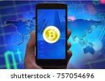 bitcoin concept wallpaper.... | Shutterstock . vector #757054696