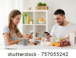 technology  eating and people... | Shutterstock . vector #757055242