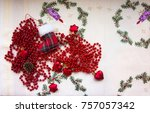 new year's beads and toys with... | Shutterstock . vector #757057342